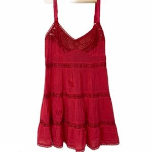 Free people boho red cotton lace trimmed camisole